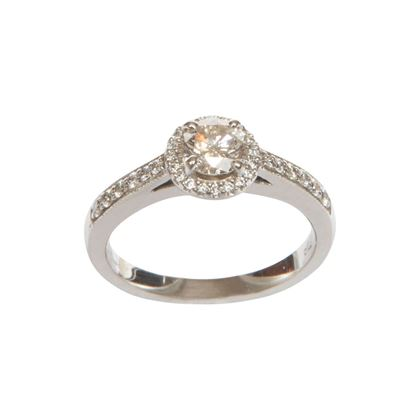 Vintage halo set diamond solitaire ring