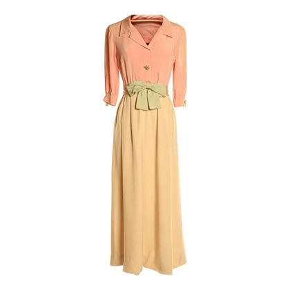Mollie Parnis 1960's Wrap Skirt Cream Vintage Dress
