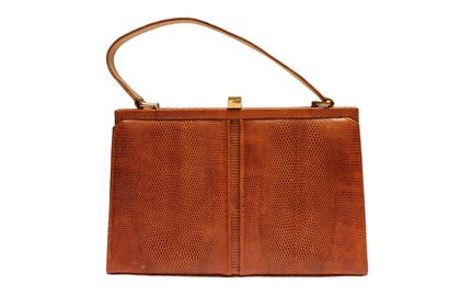 Vintage 1960s Lizard Skin Brown Handbag
