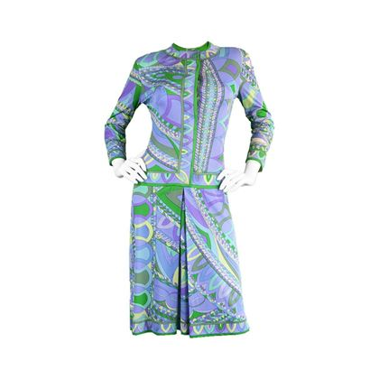 Emilio Pucci 1960's silk Jersey blue pattern vintage Shift Dress
