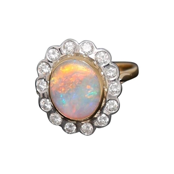 Vintage 1920's opal & diamond ring