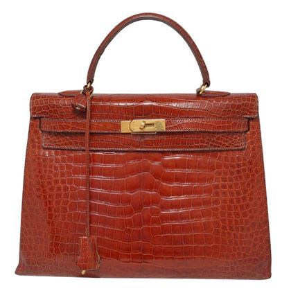 Hermes 1993 porosus Crocodile Kelly brown vintage bag