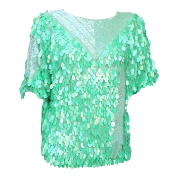 Vintage 1980s vibrant green sequin & beaded top