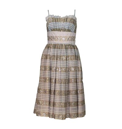Victor Josselyn 1950s Prom Style striped vintage Dress