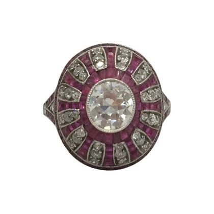 Vintage Art Deco diamond & ruby dress ring