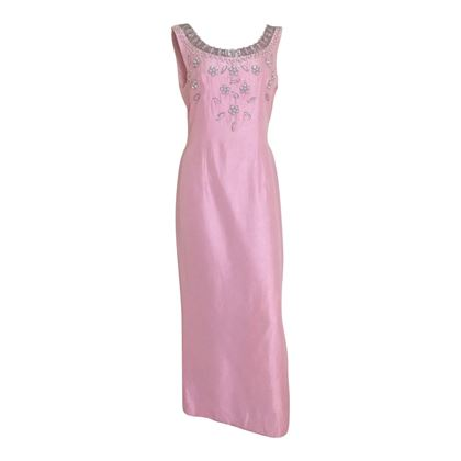 Vintage 1960s beaded pink evening dress
