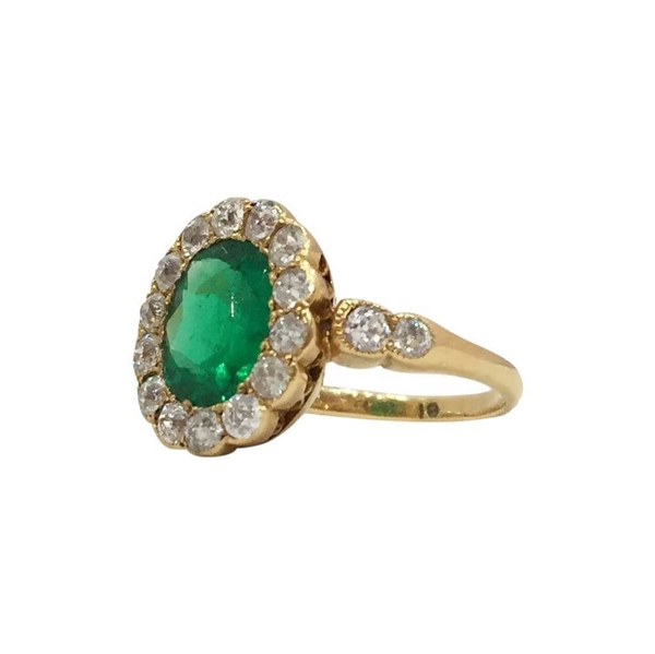 Antique Late Victorian Emerald & Diamond floral Ring