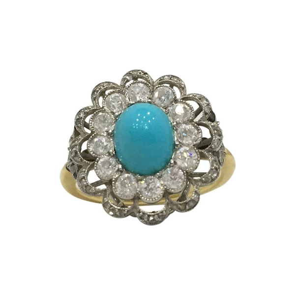 Antique Turquoise & diamond Floral dress ring