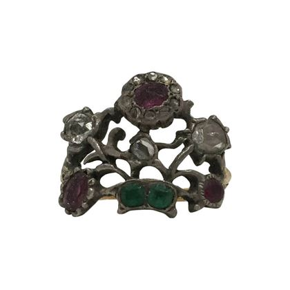 Antique Rare Georgian gem set Flower Basket ring