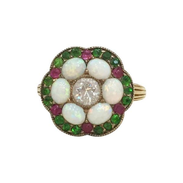 Antique Late 19th century opal diamond & green garnet ring