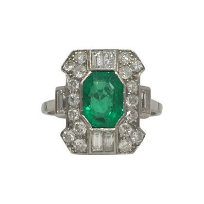 Vintage Art Deco Emerald & Diamond Geometric Ring