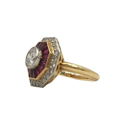 Vintage Art Deco Style ruby & diamond Octagonal target ring