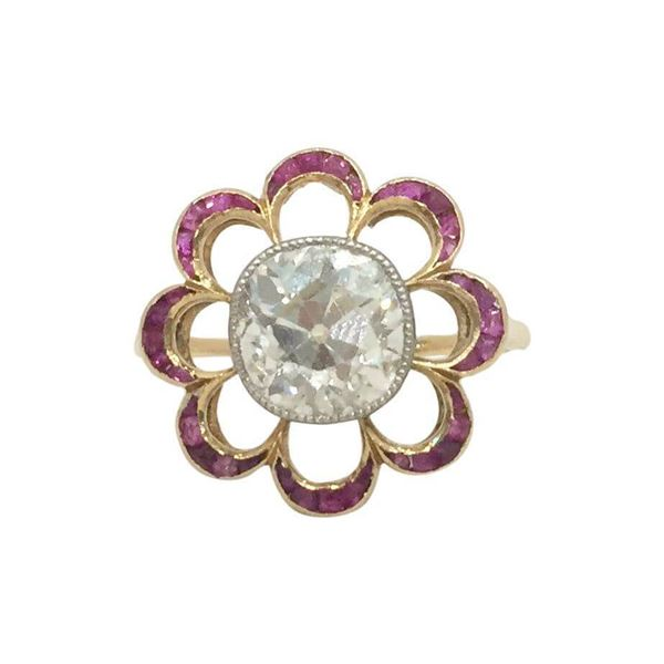 Antique Edwardian Diamond & Ruby Flower Ring