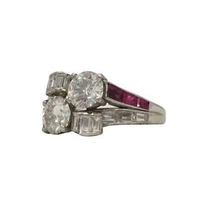 Vintage Art Deco platinum ruby & diamond ring