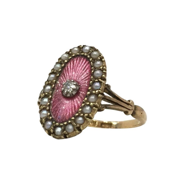 Antique Edwardian Pink Enamelled and Pearl Dress Ring