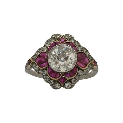 Antique Edwardian diamond & ruby ring