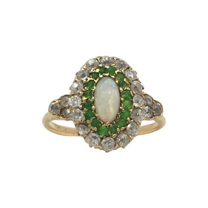 Antique Edwardian Green Garnet and Opal Ring