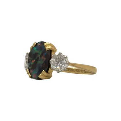 Antique Edwardian opal & diamond ring