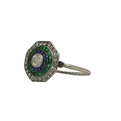 Antique Edwardian Octagonal Target Diamond, Emerald & Sapphire Ring