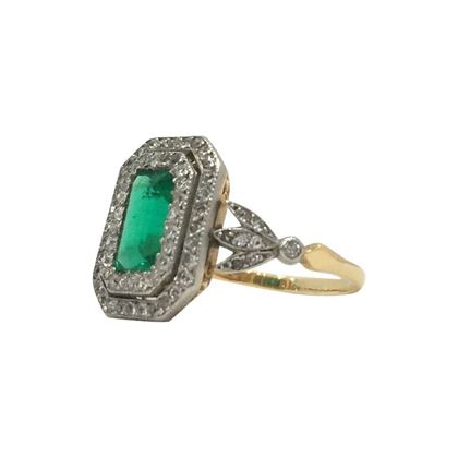 Antique Edwardian Emerald and Double Row Diamond Ring