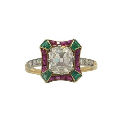 Antique Edwardian diamond, emerald & ruby ring