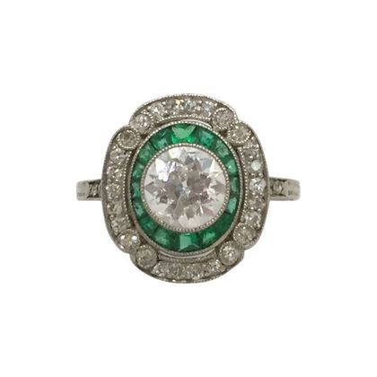 Antique Edwardian Diamond & Emerald Target Ring