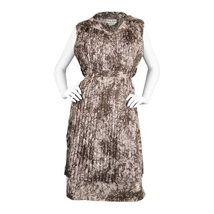 Frank Usher 1960s floral Pleated brown vintage Dress