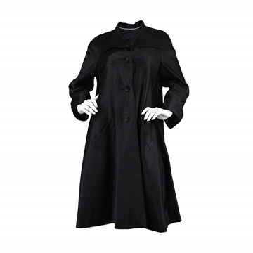 Hardy Amies 1950's Couture Silk Swing Black vintage Coat