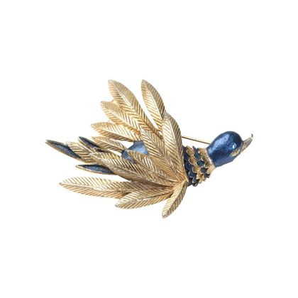 Vintage 1940s Enamelled Gilt Duck Blue Brooch