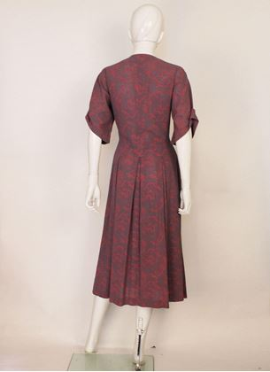 Jean Muir 1970s patterned red vintage tea Dress