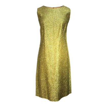 Pom Pom 1960's Tinsel Shift Gold Vintage Dress