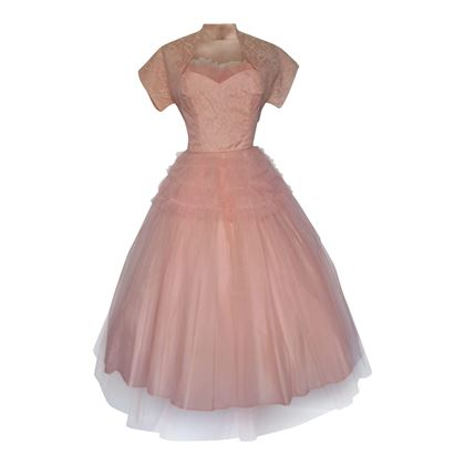 Vintage 1950s Lace & Tulle Prom Pink Dress