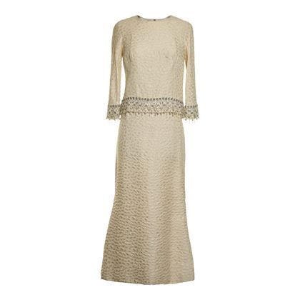 B. Siegel Co. 1960s Brocade Two Piece Cream Vintage Dress