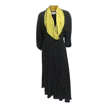 Janice Wainwright 1970s silk polka dot vintage wrap dress
