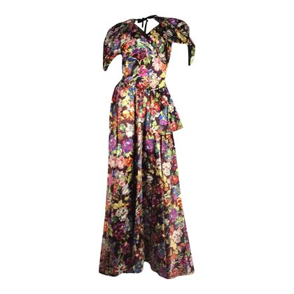Vintage 1930's Satin Floral black maxi dress & capelet