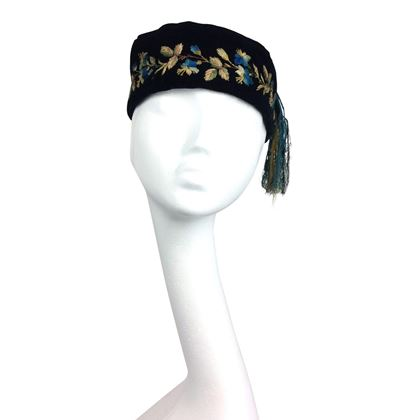 Victorian antique embroidered vintage smoking hat