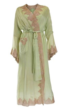 Vintage 1950s Silk & lace trim green negligee