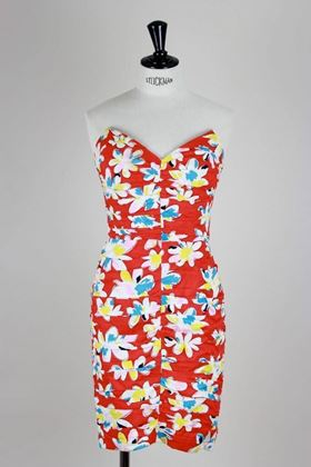 Sweetheart 1980's floral red vintage Dress