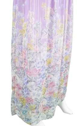 Hanae Mori 1980s Oriental floral purple Vintage Maxi Dress