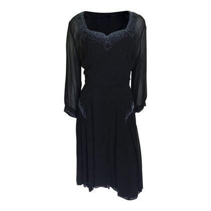 Vintage 1940s silk chiffon & beaded black dress