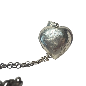 Edwardian antique locket & chain vintage silver necklace