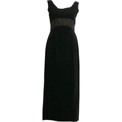 Vintage 1950's classic velvet long black dress