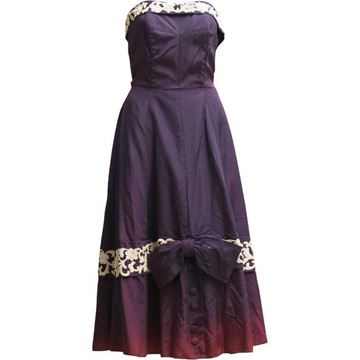 Vintage 1950's strapless purple brocade dress
