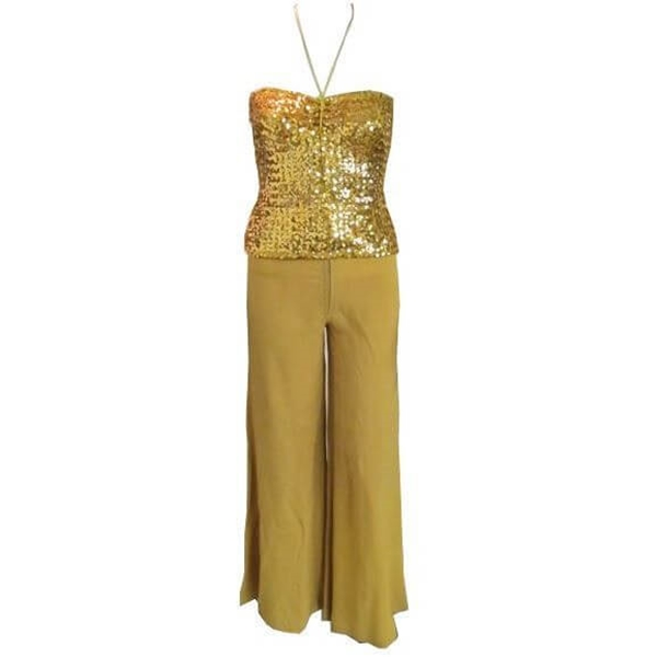 0fef552256c84 Biba Iconic 1970 s tube top gold sequin two piece