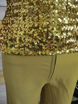 Biba Iconic 1970's tube top gold sequin vintage two piece