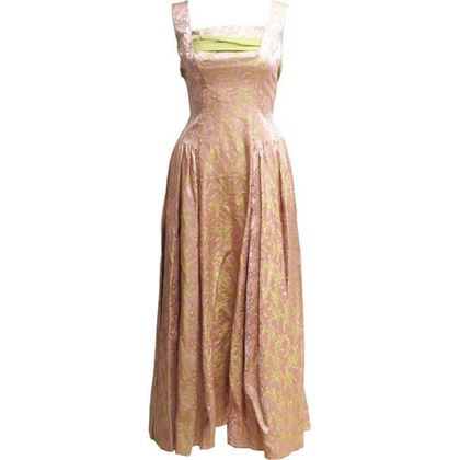 Vintage 1950's Dusty pink & gold brocade dress