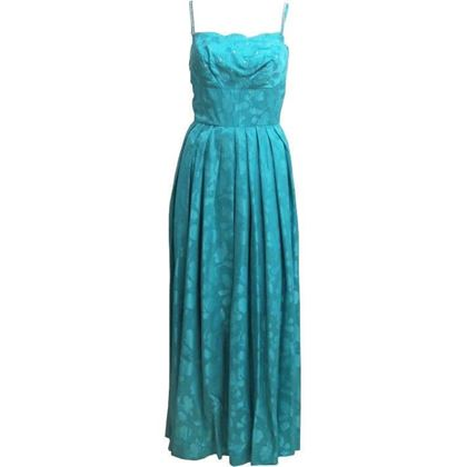 Blanes 1950's scallop detail teal blue vintage dress
