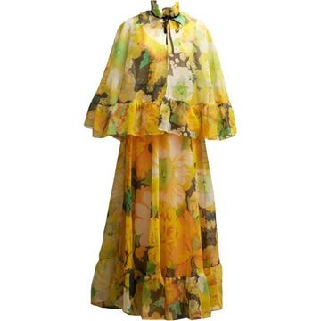Vintage 1970's wild flower yellow maxi dress & cape