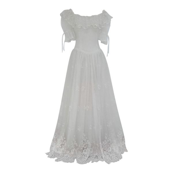 Vintage 1970s Off the shoulder boho Wedding Dress