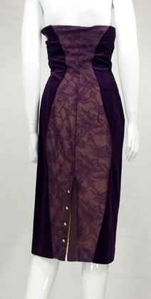 Paco Rabanne Velvet and Lace Dress - 1970s